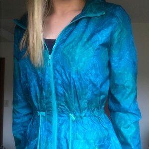 Blue/green floral Aztec rain jacket